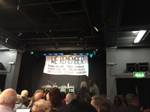 HCDA banner at Chats Palace Spycops meeting
