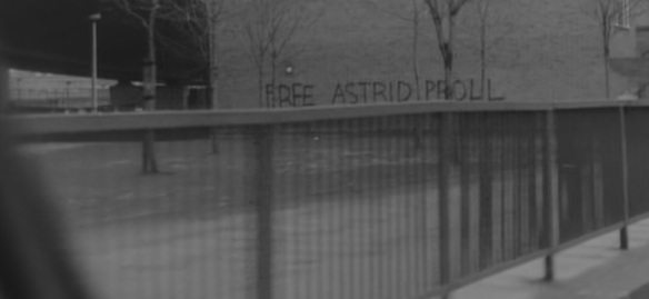"""Free Astrid Proll"" graffitiin West London from Christopher Petit's film ""Radio On"""